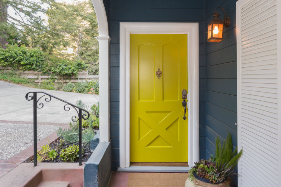 wooden door yellow